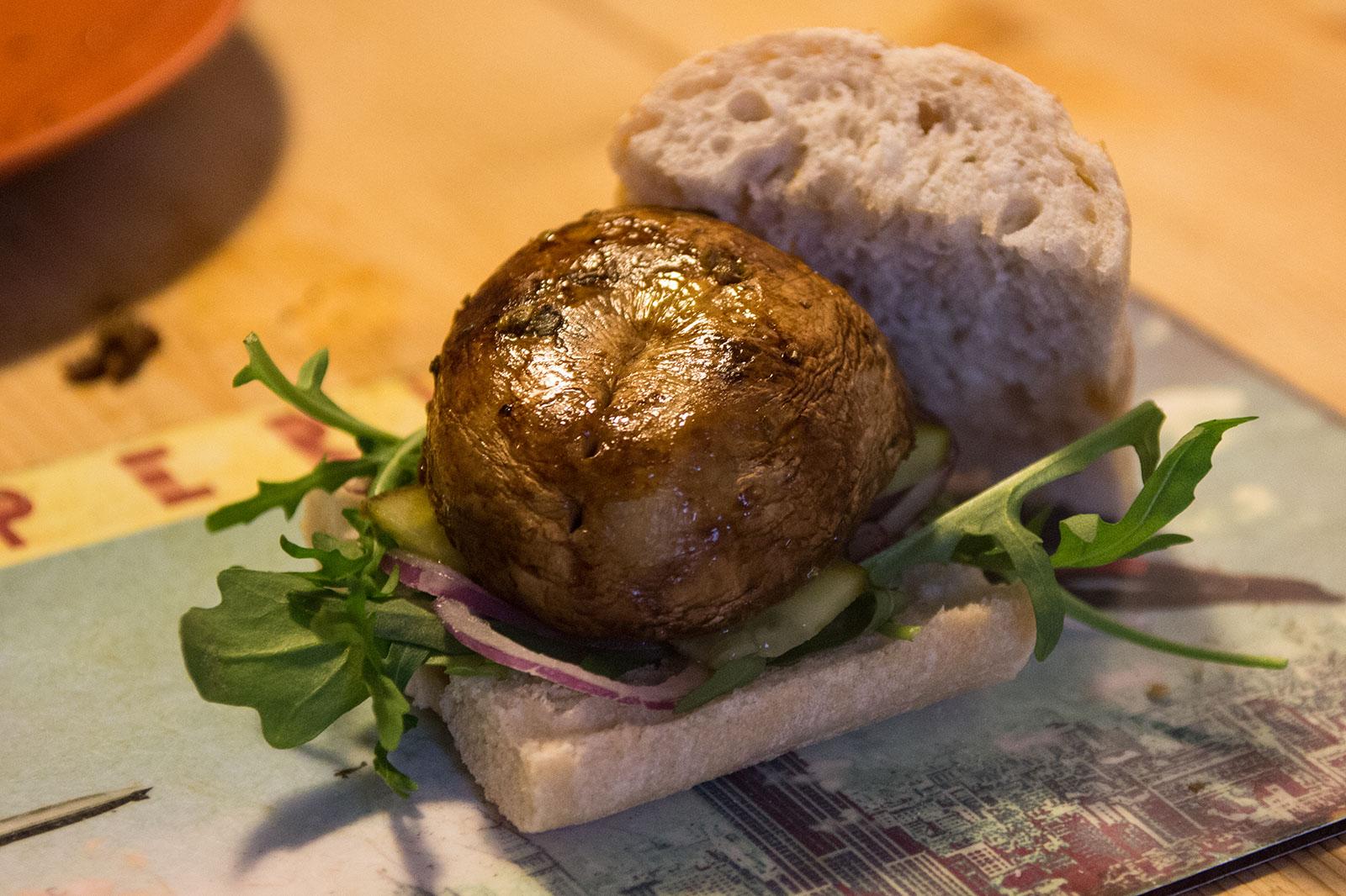 Champignons Sandwich im Baguette