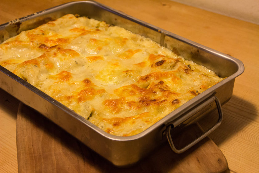 Die fertige Champignon-Lauch Lasagne
